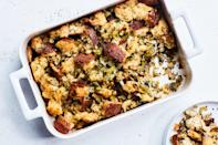 """Every year, this easy stuffing appears on many, many Thanksgiving tables. This year was no different—and we must say, it's good at Christmastime, too. <a href=""""https://www.epicurious.com/recipes/food/views/simple-is-best-dressing-51124210?mbid=synd_yahoo_rss"""" rel=""""nofollow noopener"""" target=""""_blank"""" data-ylk=""""slk:See recipe."""" class=""""link rapid-noclick-resp"""">See recipe.</a>"""