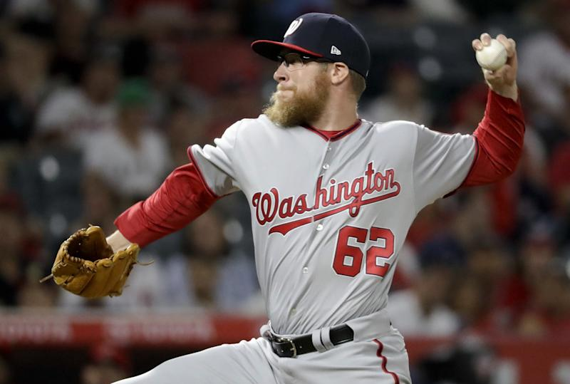 Washington Nationals relief pitcher Sean Doolittle throws against the Los Angeles Angels during the ninth inning of a baseball game in Anaheim, Calif., Tuesday, July 18, 2017. The Nationals won 4-3.