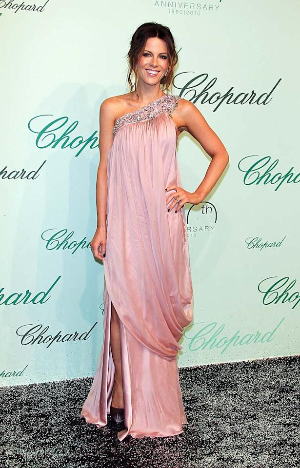 "Kate Beckinsale was one of many Hollywood leading ladies that walked the red carpet at a fete for luxury jewelry company Chopard in Cannes, France. The ""Serendipity"" star, who is also a member of the jury at this year's Cannes Film Festival, dazzled in a pink gown by Temperley London. George Pimentel/<a href=""http://www.filmmagic.com/"" target=""new"">FilmMagic.com</a> - May 17, 2010"