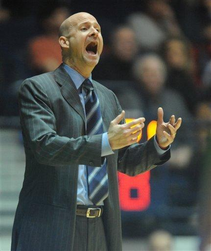 Mississippi head coach Andy Kennedy shouts during an NCAA college basketball game against Arkansas in Oxford, Miss., on Saturday, Jan. 19, 2013. (AP Photo/Oxford Eagle, Bruce Newman)