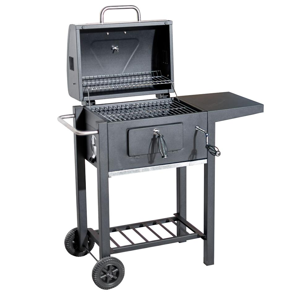 """<p>Get sizzling with this BBQ using its height-adjustable grill, which can help control the intensity of the cooking temperature for different foods. The side table is handy for holding utensils and plates.</p><p><strong>£99.99, Robert Dyas </strong><a rel=""""nofollow"""" href=""""https://www.robertdyas.co.uk/flamemaster-charcoal-trolley-bbq"""">BUY NOW</a></p>"""
