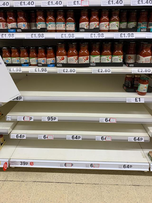 Loyd Grossman pasta sauces are not in favour with stockpilers. (SWNS)