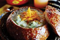 """Arguably, the <em>best</em> soup recipes come with directions to serve your soupy supper in a bread bowl. This creamy chicken broth-based soup has loads of shredded sharp cheddar cheese, diced onion, broccoli florets, and a pinch of nutmeg. <a href=""""https://www.epicurious.com/recipes/food/views/broccoli-cheese-soup?mbid=synd_yahoo_rss"""" rel=""""nofollow noopener"""" target=""""_blank"""" data-ylk=""""slk:See recipe."""" class=""""link rapid-noclick-resp"""">See recipe.</a>"""