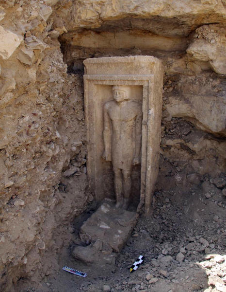 """This undated image released Friday, Nov. 2, 2012 by Egypt's Supreme Council of Antiquities, shows a recently discovered statue in a complex of tombs, including one of a pharaonic princess, in the Abusir region, south of Cairo, Egypt. Egyptian Minister of Antiquities, Mohammed Ibrahim said Czech archaeologists have unearthed the tomb of Shert Nebti's, a pharaonic princess, daughter of King Men Salbo, dating from the fifth dynasty (around 2500 BC) along with four other tombs of """"high ranking officials."""" (AP Photo/Egypt's Supreme Council Of Antiquities)"""