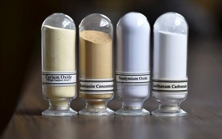 Samples of rare earth minerals Cerium oxide, Bastnaesite, Neodymium oxide and Lanthanum carbonate at Molycorp's Mountain Pass Rare Earth facility