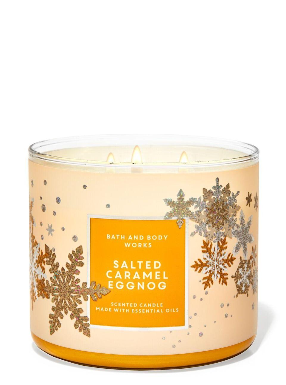 "<p><strong>Bath & Body Works</strong></p><p>Bath & Body Works</p><p><strong>$14.50</strong></p><p><a href=""https://www.bathandbodyworks.com/p/salted-caramel-eggnog-3-wick-candle-026178788.html?cgid=3-wick-candles#start=52&sz=48"" rel=""nofollow noopener"" target=""_blank"" data-ylk=""slk:Shop Now"" class=""link rapid-noclick-resp"">Shop Now</a></p><p>Fair warning: You can't get anything productive done while burning this delight. Sorry, I don't make the rules. Bath & Body Works does. </p>"