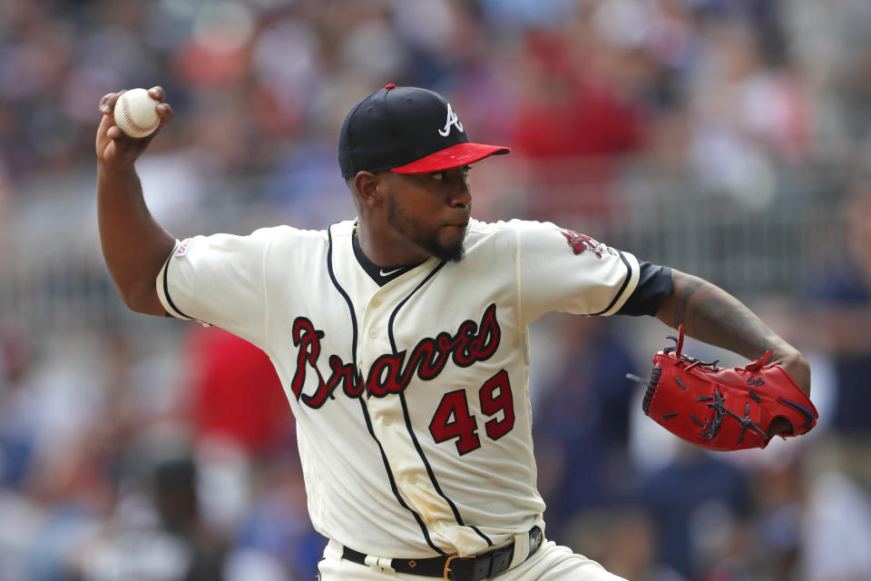 Atlanta Braves starting pitcher Julio Teheran works in the first inning of a baseball game against the Chicago White Sox, Sunday, Sept. 1, 2019, in Atlanta. (AP Photo/John Bazemore)