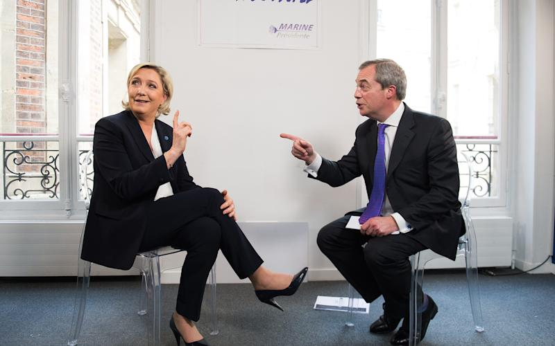 Marine Le Pen being interviewed by Nigel Farage in Paris this week - Credit: Eliot Blondet/Abaca Press/Eliot Blondet/Abaca Press