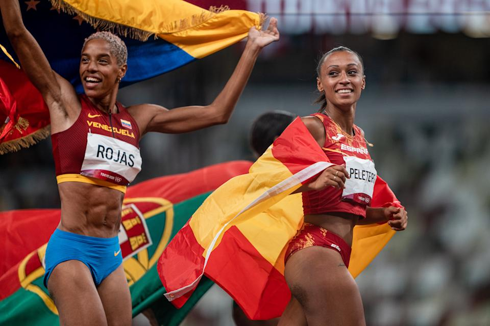 JAPAN - AUGUST 01: Team Spain's Ana Peleteiro, bronze medalist in the triple jump final, celebrates her medal with Yulimar Rojas (gold) during the 2020 Olympic Games on August 1, 2021 in Tokyo, Japan. (Photo By SergioMateo/EuropaPress via Getty Images)