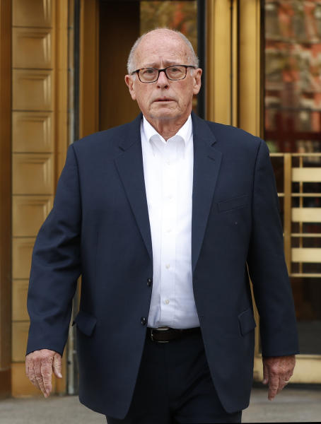 Former Rochester Drug Co-Operative CEO Laurence Doud III leaves US. District Court in Manhattan, Tuesday, April 23, 2019, in New York. Prosecutors allege Doud ignored red flags to turn his drug distributor into a supplier of last resort as the opioid crisis raged. (AP Photo/Kathy Willens)