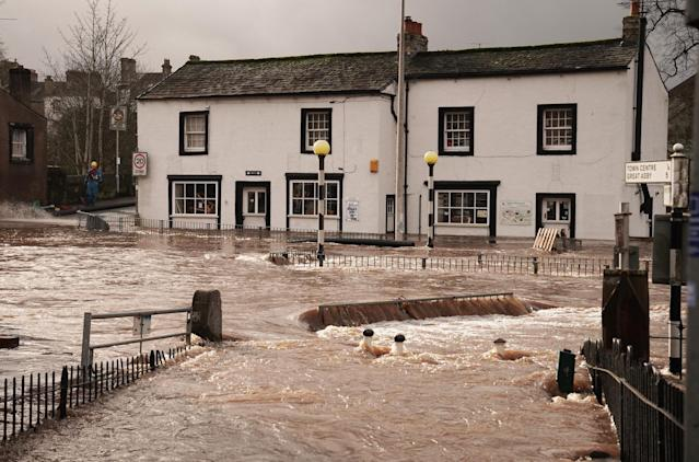 Flooded streets in Appleby-in-Westmorland, Cumbria, as Storm Ciara hits the UK. (PA)