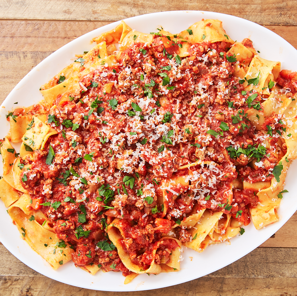 """<p>We love a hearty meat sauce for topping our <a href=""""https://www.delish.com/uk/cooking/recipes/a30207172/easy-crockpot-spaghetti-recipe/"""" rel=""""nofollow noopener"""" target=""""_blank"""" data-ylk=""""slk:spaghetti"""" class=""""link rapid-noclick-resp"""">spaghetti</a> or pappardelle. Lamb changes things up a bit and is even more tender than <a href=""""https://www.delish.com/uk/beef-recipes/"""" rel=""""nofollow noopener"""" target=""""_blank"""" data-ylk=""""slk:beef"""" class=""""link rapid-noclick-resp"""">beef</a>. This ragù is perfect for making a big batch on Sunday night and freezing any leftovers for when your pasta craving hits—which I'm sure will be soon!</p><p>Get the <a href=""""https://www.delish.com/uk/cooking/recipes/a30510748/lamb-ragu-recipe/"""" rel=""""nofollow noopener"""" target=""""_blank"""" data-ylk=""""slk:Lamb Ragu"""" class=""""link rapid-noclick-resp"""">Lamb Ragu</a> recipe.</p>"""