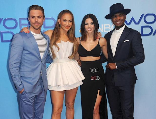 <p><em>World of Dance</em> cast members made sure to look their best (it's not hard with these four!) for a photo op at the NBC Universal lot on Tuesday in Universal City, Calif. (Photo: Albert L. Ortega/Getty Images) </p>