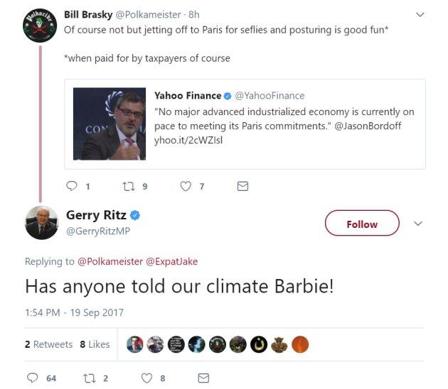 A screengrab of the deleted tweet for which Tory MP Gerry Ritz apologized on Sept. 19, 2017.