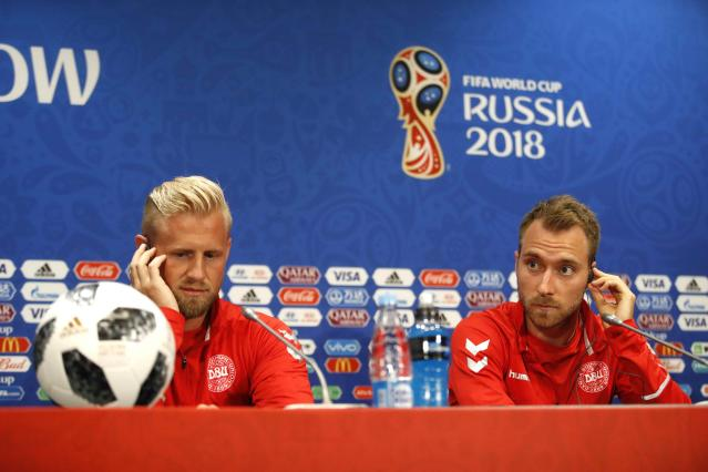 Soccer Football - World Cup - Denmark News Conference - Luzhniki Stadium, Moscow, Russia - June 25, 2018 Denmark's Kasper Schmeichel and Christian Eriksen during news conference REUTERS/Carl Recine