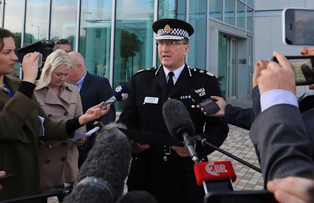 <p>Greater Manchester Police Chief Constable Ian Hopkins speaks to the media in Manchester Tuesday May 23, 2017. Police say they are treating an explosion at an Ariana Grande concert in northern England as terrorism. (Peter Byrne/PA via AP) </p>
