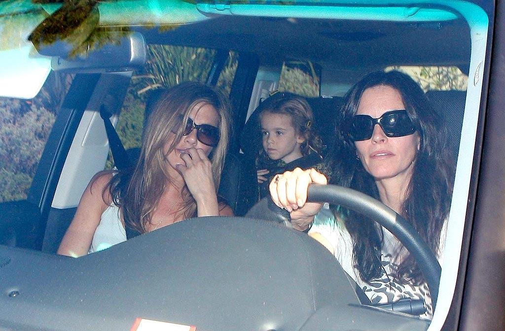 "Jennifer Aniston, Courteney Cox Arquette, and Courtney's daughter Coco arrive at Olive Cohen's first birthday party in Beverly Hills. Olive is the daughter of Sacha Baron Cohen and Isla Fisher. Ice-Miguel/<a href=""http://www.x17online.com"" target=""new"">X17 Online</a> - October 19, 2008"