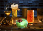 Oga's Cantina is one of the few places in the park that serves alcoholic beverages. These include, from left to right, The Outer Rim, Bespin Fizz, Yub Nub and Fuzzy Tauntaun. (Photo: Kent Phillips/Disney Parks)