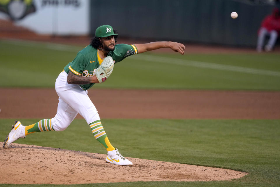 Oakland Athletics starting pitcher Sean Manaea delivers against the Los Angeles Angels during the fifth inning of a baseball game Friday, May 28, 2021, in Oakland, Calif. (AP Photo/Tony Avelar)