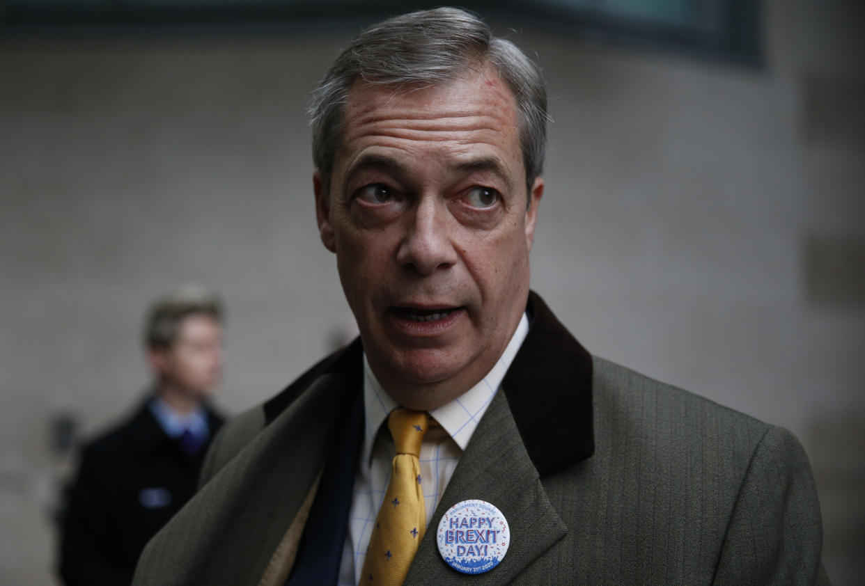 LONDON, ENGLAND - FEBRUARY 02: Brexit Party leader and former MEP, Nigel Farage arrives to appear on the Andrew Marr Show at BBC Television Centre on February 2, 2020 in London, England. (Photo by Hollie Adams/Getty Images)