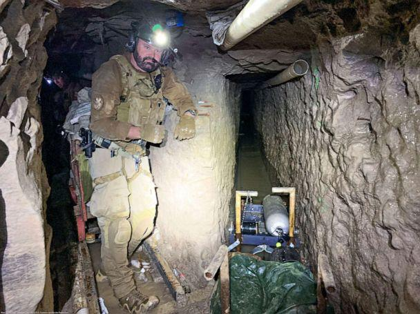 PHOTO: Handout photo taken Oct. 30, 2019 and released Jan. 28, 2020, shows the longest illicit cross-border narco-tunnel ever discovered along the Southwest border. The tunnel is around five and a half feet tall by two feet wide and 4,309 feet long. (U.S. Customs and Border Protection)