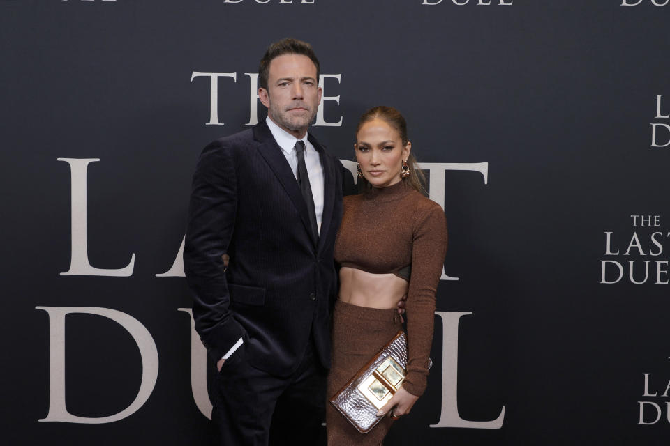 Jennifer Lopez accompanied boyfriend Ben Affleck to the New York City premiere of his latest film, The Last Duel. (Photo: Michael Loccisano/Getty Images for 20th Century Studios)