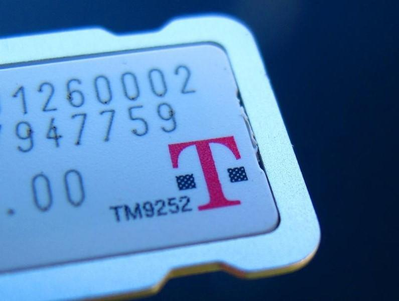 The SIM card for a T-Mobile phone is illustrated in this photograph in Encinitas