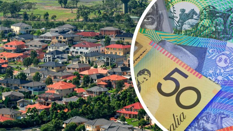 Pictured: Australian houses, Australian cash suggesting RBA interest rate decision concept. Images: Getty