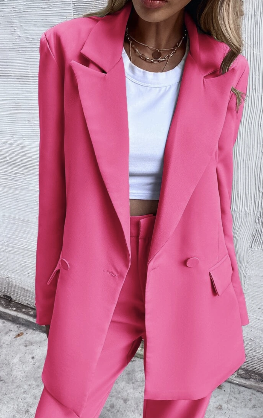 Shein's Double Button Lapel Collar Blazer, $43.95, and matching pants, $29.95.