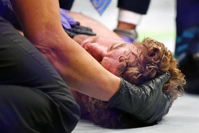 Ben Askren on the mat after being knocked out by Jorge Masvidal on July 6 at UFC 239 inside T-Mobile Arena in Las Vegas. (Stephen R. Sylvanie/USA Today Sports)