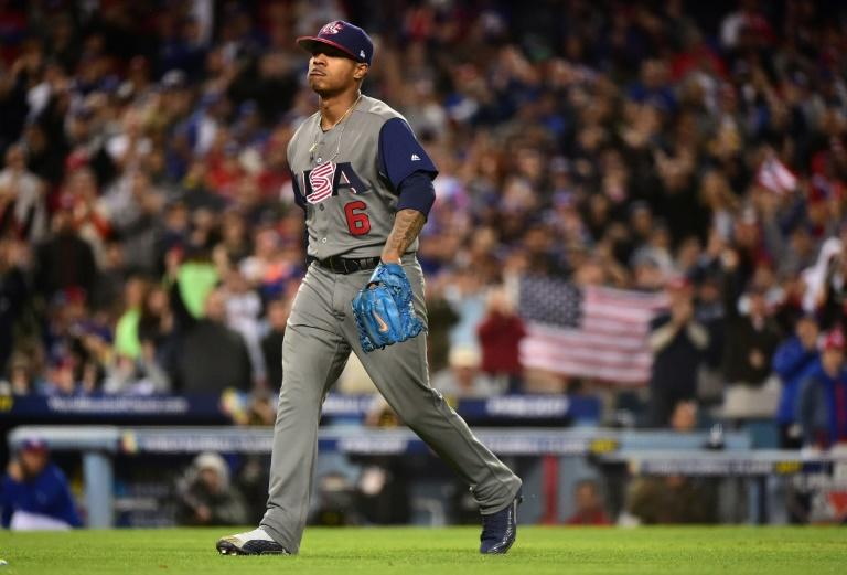Starting pitcher Marcus Stroman of team United States pitched a no-hitter through six innings against Puerto Rico during the 2017 World Baseball Classic
