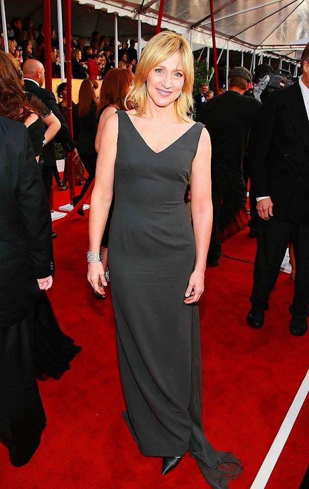 """Edie Falco has a fabulous bod, so we're not quite sure why she didn't choose to wear a more flattering frock. As for her hair, she either got caught in the rain or forgot to do it altogether! Dimitrios Kambouris/<a href=""""http://www.wireimage.com"""" target=""""new"""">WireImage.com</a> - January 27, 2008"""