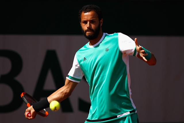 """Laurent Lokoli refused to shake hands with his opponent, Slovakia's <a class=""""link rapid-noclick-resp"""" href=""""/olympics/rio-2016/a/1162661/"""" data-ylk=""""slk:Martin Klizan"""">Martin Klizan</a>. (Getty Images)"""