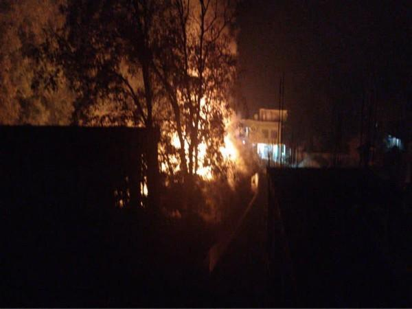 Visuals from the fire in Qaimoh, Jammu and Kashmir. [Photo/ANI]
