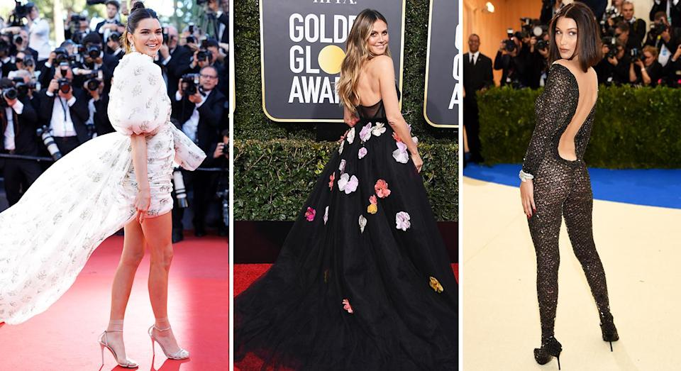 The over the shoulder stance is a red carpet move favoured by the model pack [Photo: Getty]
