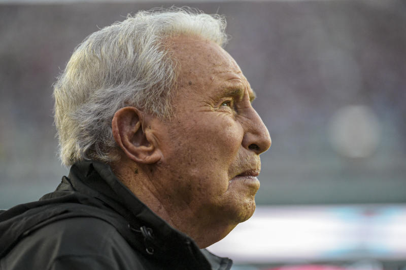 ESPN broadcaster Lee Corso watches LSU tale on Alabama in the first half of an NCAA football game Saturday, Nov. 9, 2019, in Tuscaloosa, Ala. (AP Photo/Vasha Hunt)