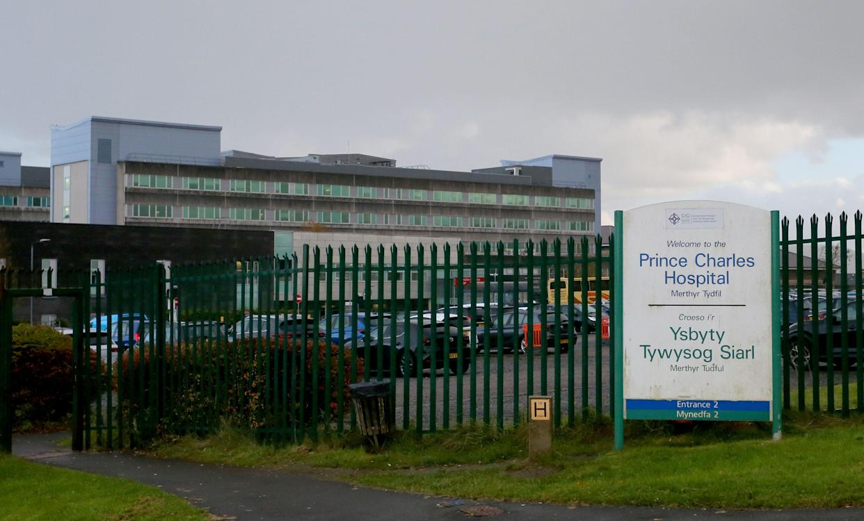 MERTHYR TYDFIL, WALES - OCTOBER 9:  A general view of Prince Charles Hospital on October 9, 2020 in Merthyr Tydfil, Wales. The hospital falls under the Cwm Taf Morgannwg University Health Board whose hospitals have reported an increase of Covid related deaths. (Photo by Huw Fairclough/Getty Images)