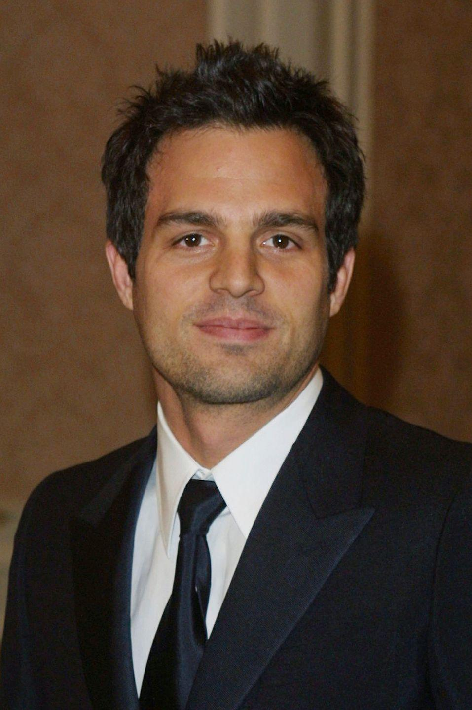 <p>Before he was the Hulk, Mark Ruffalo's short and spiky brown hair was part of his signature look. </p>