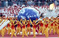 <p>Japan choreographed an elaborate dance around the world during the opening ceremony for the 1998 Winter Olympic Games in Nagano. </p>