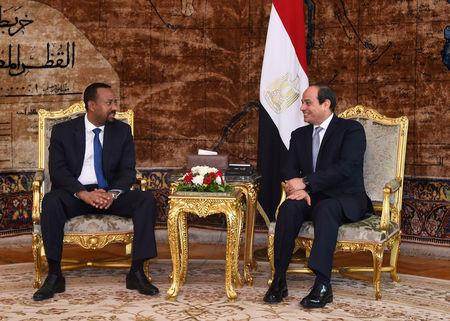 Egyptian President Abdel Fattah al-Sisi (R) meets with Ethiopian Prime Minister Abiy Ahmed at the Ittihadiya presidential palace in Cairo, Egypt, June 10, 2018. in this handout picture courtesy of the Egyptian Presidency. The Egyptian Presidency/Handout via REUTERS