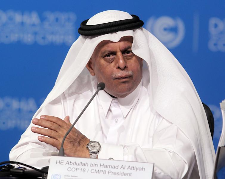 Qatar's deputy Prime minister Abdullah bin Hamad Al-Attiyah speaks at the opening session of the United Nations Climate Change conference in Doha, Qatar, Monday, Nov. 26, 2012. U.N. talks on a new climate pact resumed Monday in oil and gas-rich Qatar, where negotiators from nearly 200 countries will discuss fighting global warming and helping poor nations adapt to it. The two-decade-old talks have not fulfilled their main purpose: reducing the greenhouse gas emissions that scientists say are warming the planet. (AP Photo/Osama Faisal)