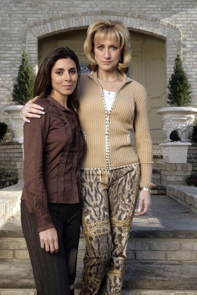 "Jamie-Lynn Sigler and Edie Falco in HBO's ""The Sopranos."""