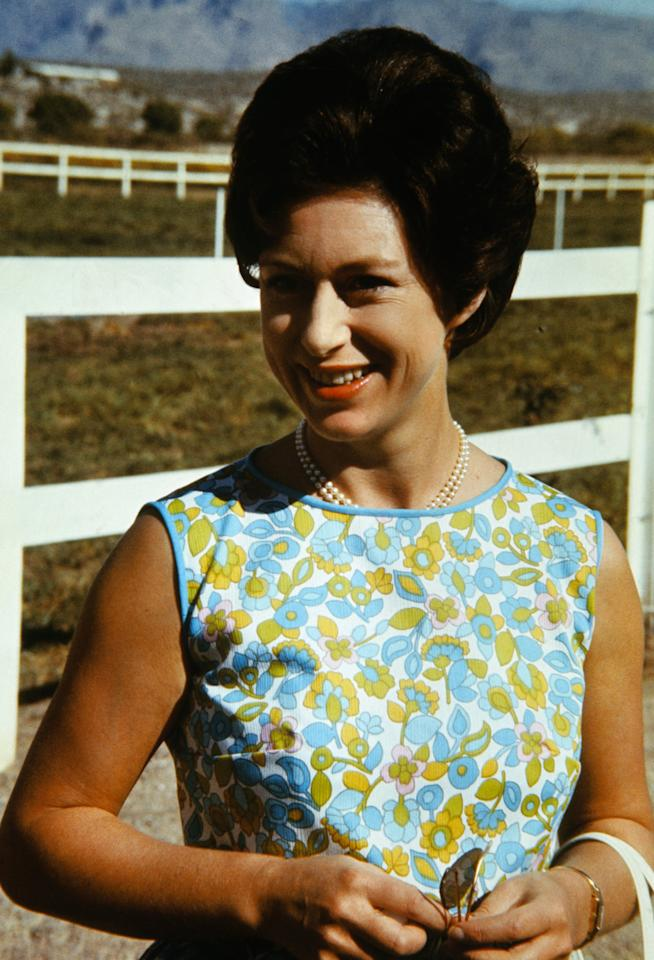 <p>Princess Margaret spending time on the Lewis Douglas Ranch near Tucson, Arizona, which she visited during her US tour.</p>