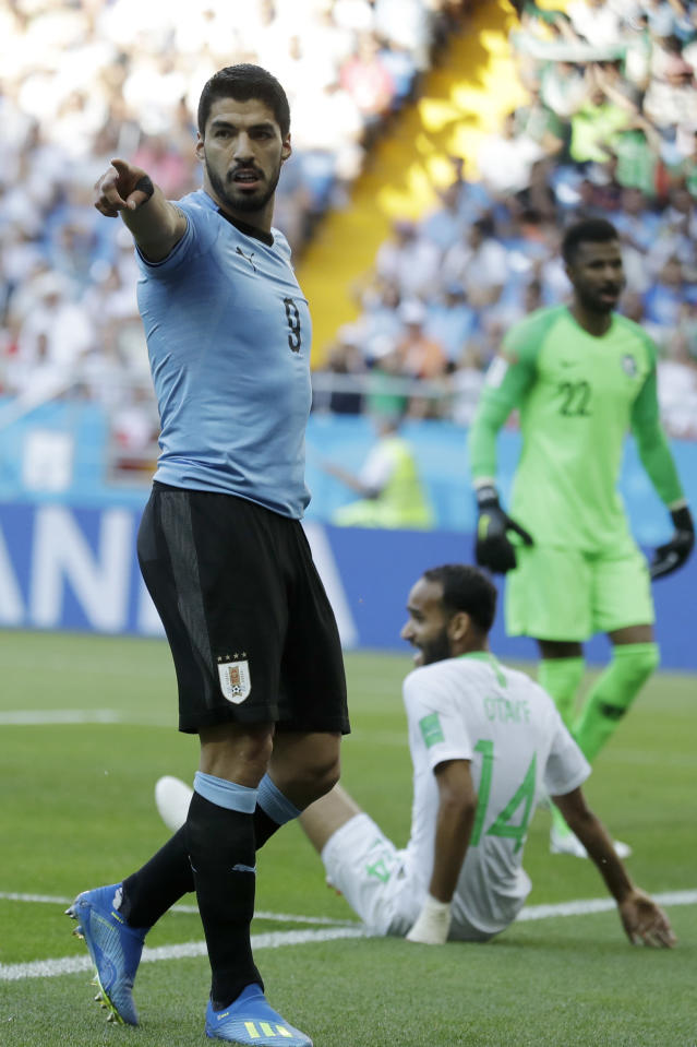 Uruguay's Luis Suarez points during a group A match against Saudi Arabia at the 2018 soccer World Cup in Rostov Arena in Rostov-on-Don, Russia, Wednesday, June 20, 2018. (AP Photo/Andrew Medichini)