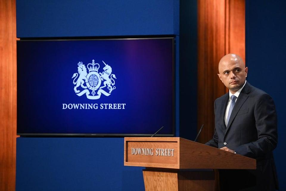 Health Secretary Sajid Javid during a media briefing in Downing Street (Toby Melville/PA) (PA Wire)