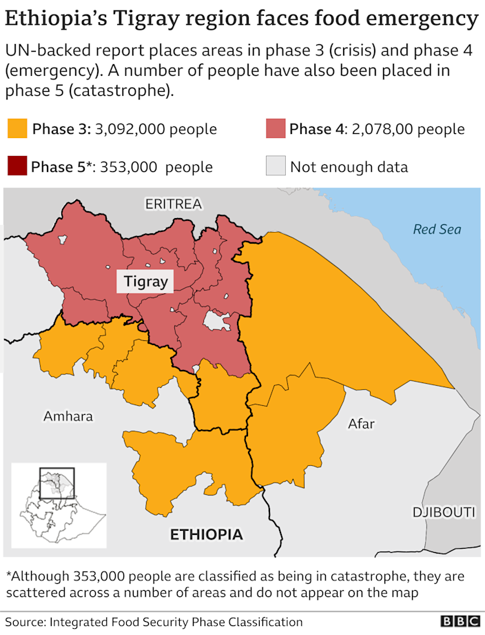 map of Tigray showing worst affected areas