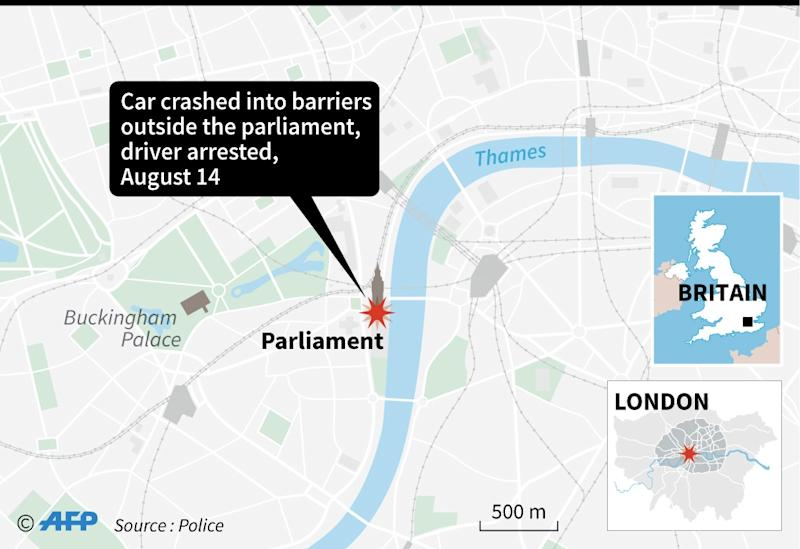 Map of London locating the House of Parliament, where a car crashed into barriers (AFP Photo/AFP)