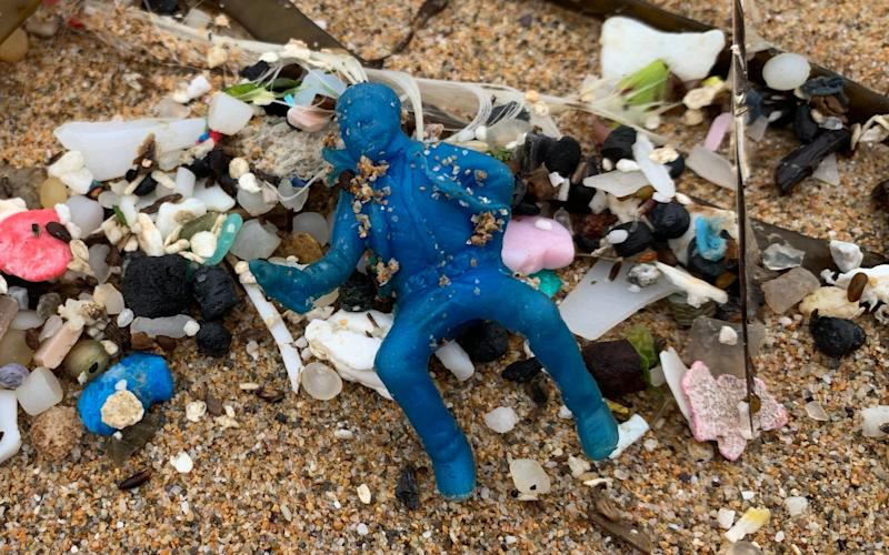 A blue cowboy from a 1957 box of Sugar Puffs was among the finds on the Cornish coast - Tracey Williams