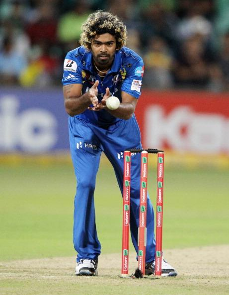 DURBAN, SOUTH AFRICA - OCTOBER 22:   Lasith Malinga in action during the Champions League twenty20 match between Sydney Sixers and Mumbai Indians at Sahara Stadium Kingsmead on October 22, 2012 in Durban, South Africa. (Photo by Anesh Debiky / Gallo Images/Getty Images)