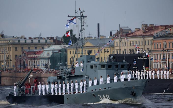 Russian Navy vessels on the River Neva in St Petersburg today - Getty Images Europe